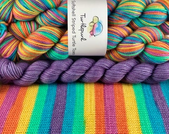 Joy - With Lilac Heel and Toe Skein - Hand Dyed Self Striping Sock Yarn