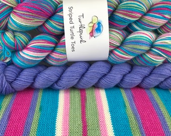 Sweet Pea - With Lilac Heel and Toe Skein - Hand Dyed Self Striping Knitting Yarn