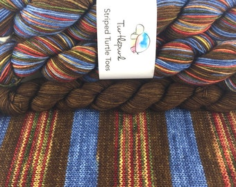 Gatineau Fall - With Brown Heel and Toe - Hand Dyed Self Striping Sock Yarn