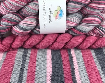 Tickled Pink - With Raspberry Pink Heel and Toe Skein - Hand Dyed Self Striping Sock Yarn