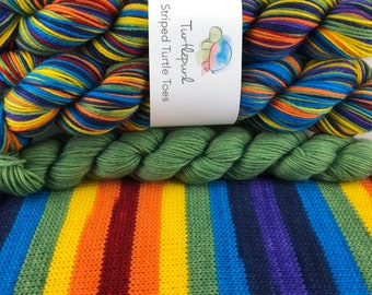 Om - With Green Heel and Toe - Hand Dyed Self Striping Sock Yarn