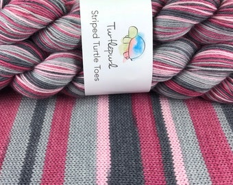 Tickled Pink - Hand Dyed Self Striping Sock Yarn