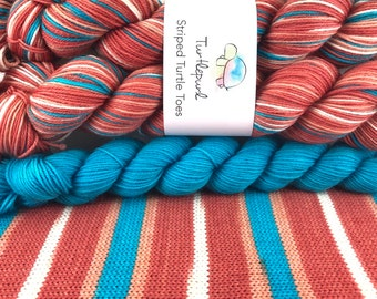 Down Under - With Turquoise Heel and Toe Skein - Hand Dyed Self Striping Sock Yarn