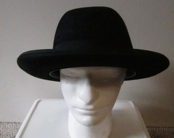 687983df636 50s Huckle black fur felt hamburg   bowler hat size 7 3 8