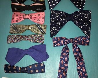 50s Red Silk Bow Tie Arrow Clip On Bow Tie