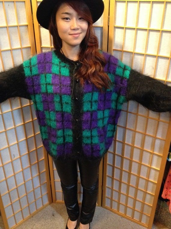 VTG 80s plaid mohair oversized cardigan sweater wo