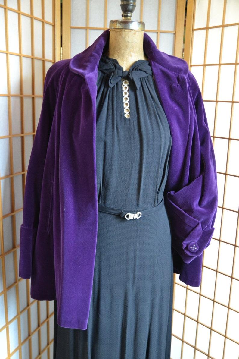 Vtg 50s purple cotton velveteen swing coat womens size medium  large