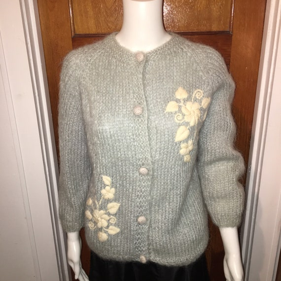 Vtg 50s mohair cardigan sweater misses / womans si