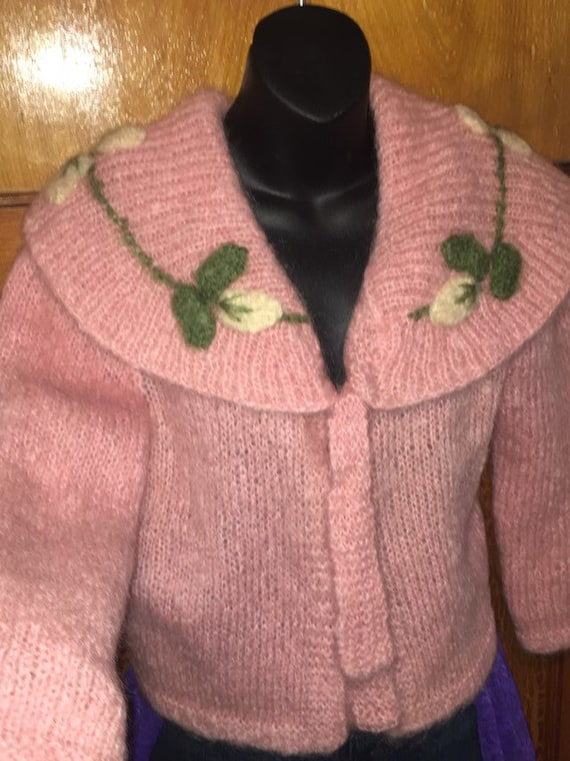 Vtg 50s pink mohair cardigan with shawl collar mis
