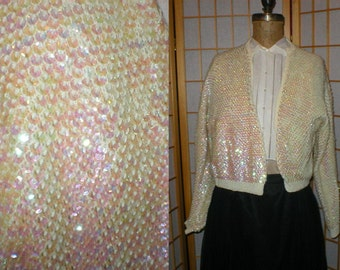 50s all over sequins cream wool knit cardigan sweater womens size medium / large