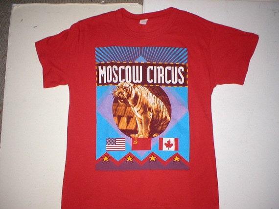 Rare Vintage MOSCOW CIRCUS Tiger Flag 1989 Tour Band Concert T Shirt 80s 90s XL