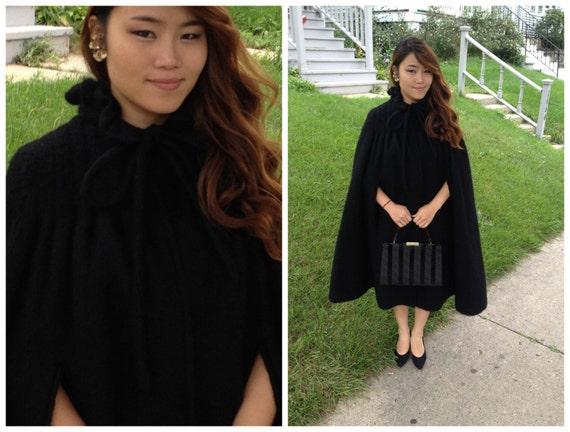 60s mod black mohair wool cape caplet wrap