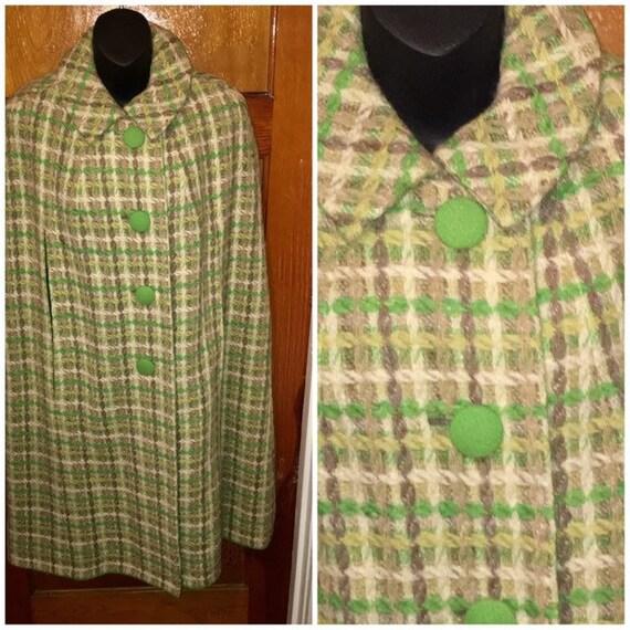 VTG 60s Mod plaid wool cape