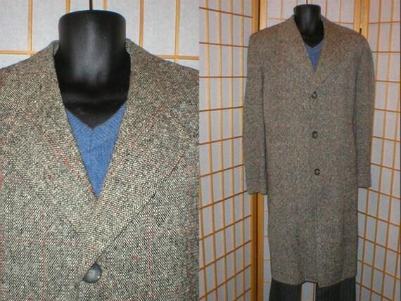Vtg 50s grey red wool tweed overcoat mens size xla