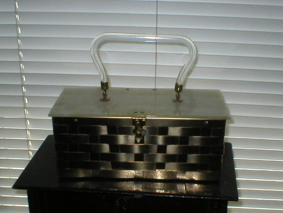 50s Woven Metal Lucite Box Purse Hand Bag