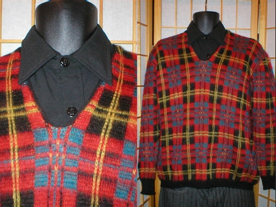 50s plaid mohair v neck pullover sweater mens size