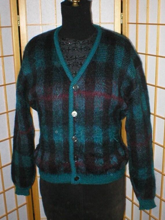 Vtg 50s Plaid Mohair Cardigan Sweater Size Mens La