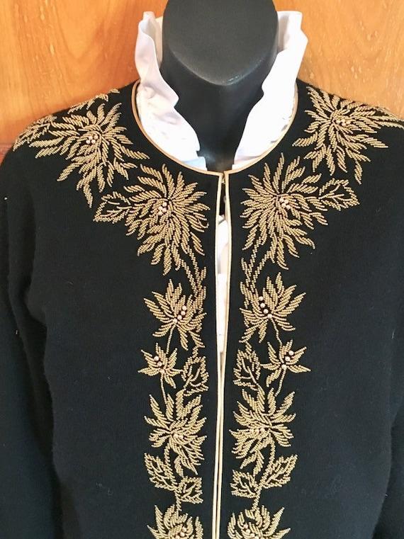 Vtg 50s beaded angora wool cardigan sweater womens