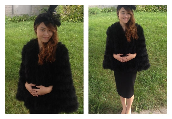 20s style black feather cape and headband