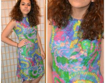 Vintage 70s silk crepe tie dye dress womens size large