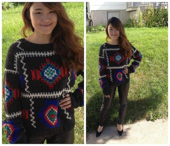 3b0fa5cf14ef Vtg 80s Indian   Aztec pattern wool knit sweater by Field Gear
