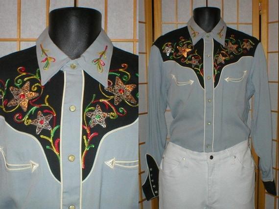 Vtg 50s H Bar C rayon gabardine western shirt mens