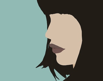 "Modern, Minimal Portrait ""Cara"" by Jules Tillman - Fine Art Lustre Print minimal woman abstract portraiture dusty aqua short black hair"