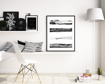 "Minimal Black and White Painting ""Horizons"" by Jules Tillman Fine Art Lustre Print modern minimalist mixed media watercolor painting stripes"