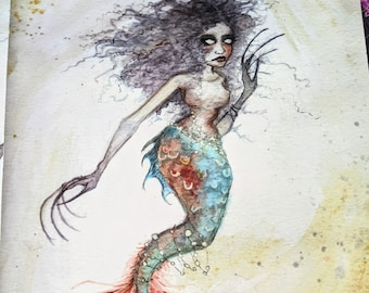 """Seawitch - 8"""" x 10"""" giclee print, watercolor painting, mermaid, mermonster, creepy, unique"""