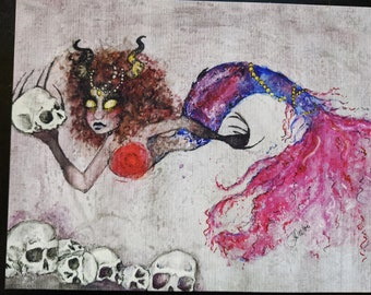 """The Collector - 8"""" x 10"""" giclee print, watercolor painting, mermaid, mermonster, creepy, unique"""