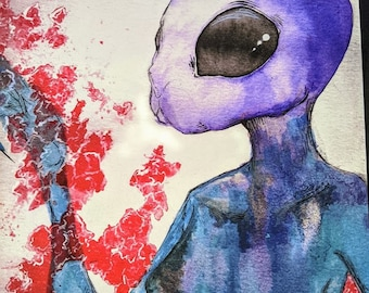 "Bunnywoman - 8"" x 10"" giclee print, watercolor painting, bunny, girl, macabre, surreal, creepy, unique"