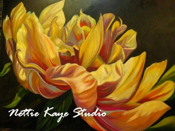 large floral painting 30 x 40 oil on canvas peony in light etsy