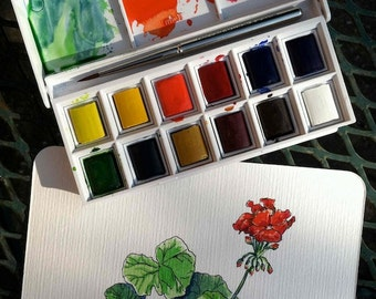 Red Geranium, original watercolor and ink,  framed 8x10, collectible artist