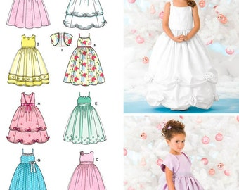 MAKES FANCY FLOWER GIRL DRESS~HEADBAND RETIRED SEWING PATTERN SIZES 2 TO 8!