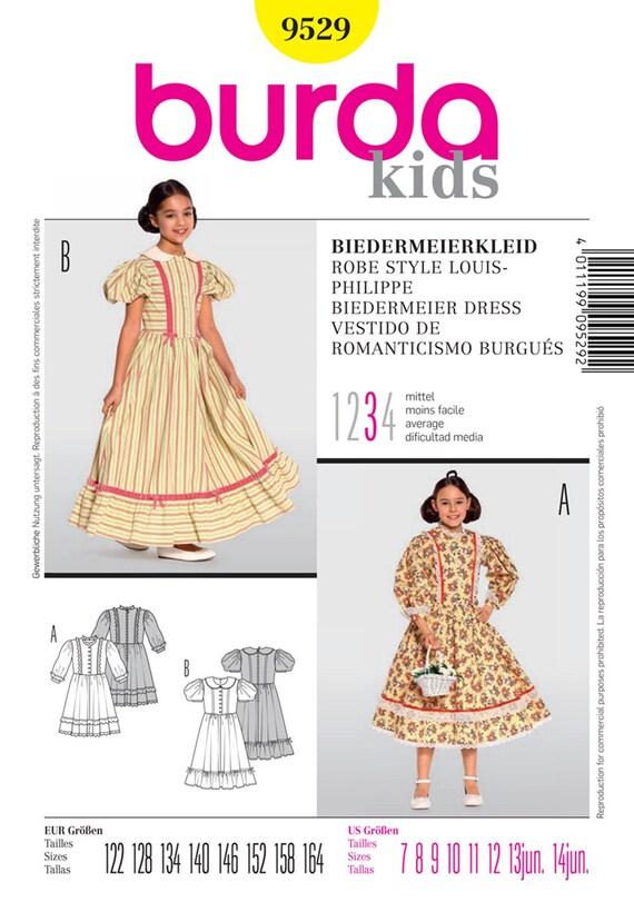 PATRÓN de BURDA disfraces niñas vestido de Biedermeier traje | Etsy