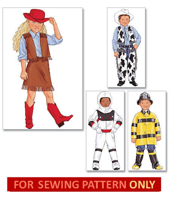COSTUME SEWING PATTERN Cowboy / Cowgirl / Astronaut / | Etsy