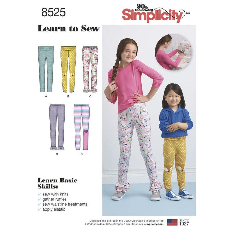 PLAY CLOTHES MAKE GIRLS LEGGINGS SEWING PATTERN SIZE 3-6 OR 7-14 FIVE STYLES