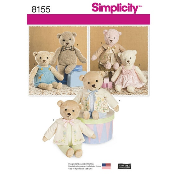 38fad971879 PLUSH BEAR PATTERN With Clothes   21 Inches Tall   Fleece