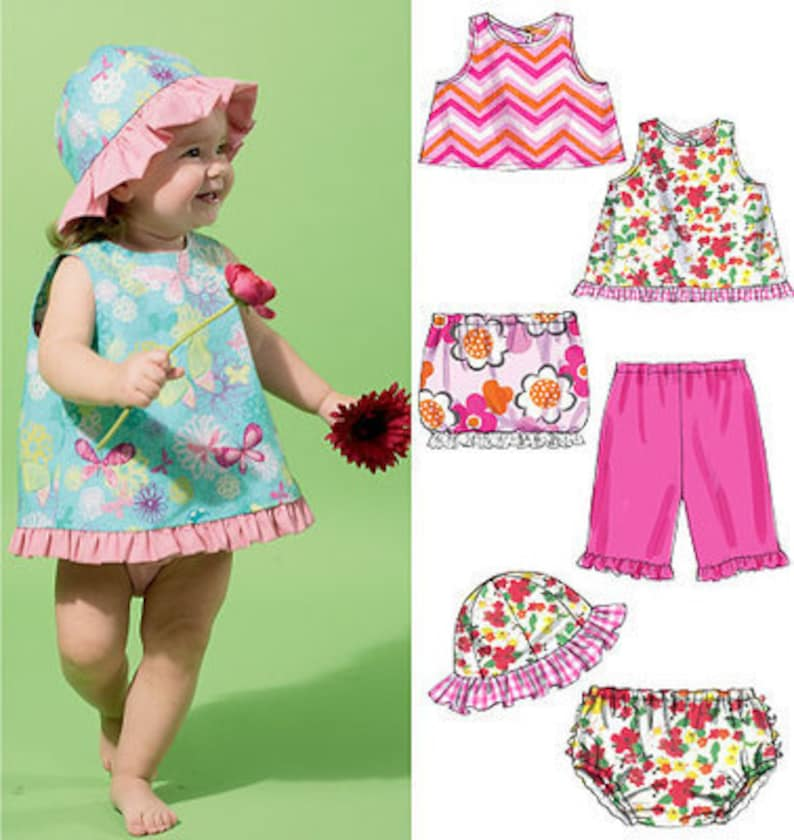 SEWING PATTERN BABY CLOTHES SIZE 8 TO 29 POUNDS MAKES DRESS~HAT~PANTIES~ROMPER