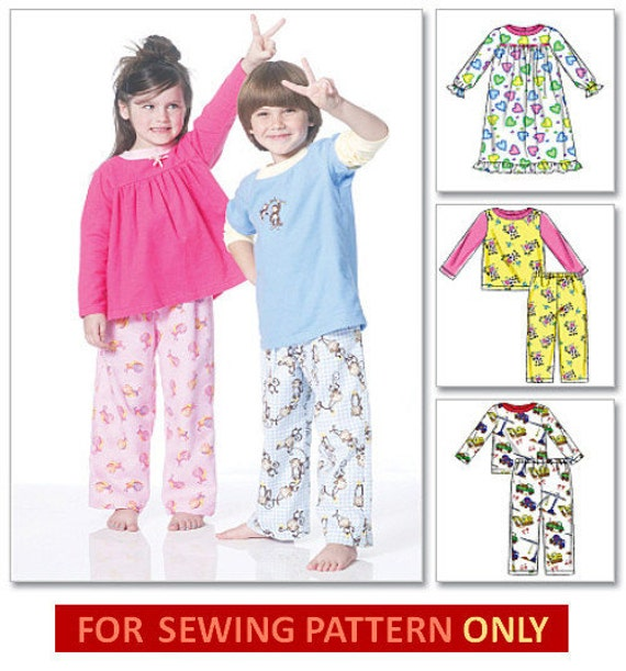Kids Sleepwear Pattern Sale Pajamas And Nightgowns For Etsy