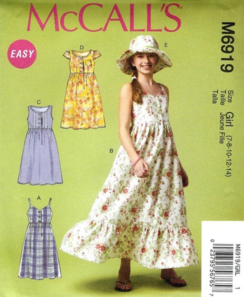 528aacbdbcb GIRLS CLOTHES PATTERN Make Dress Sundress Hat   Summer