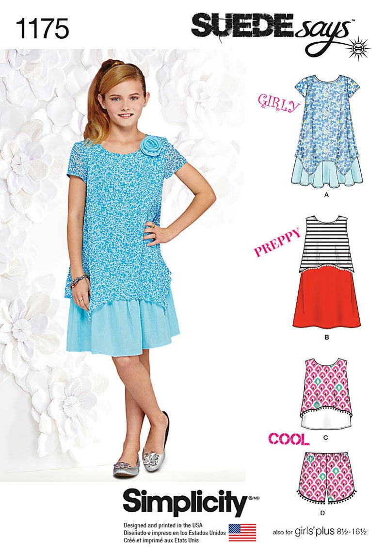 SIZE 8~`16 /& PLUS 8 1//2~16 1//2 MAKE GIRL SHIFT DRESS~SUNDRESS SEWING PATTERN