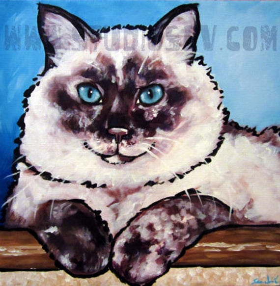 Tabby Cat Print Blue Hour from an original by I Garmashova
