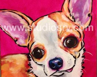 12x12 Fawn Chihuahua  print