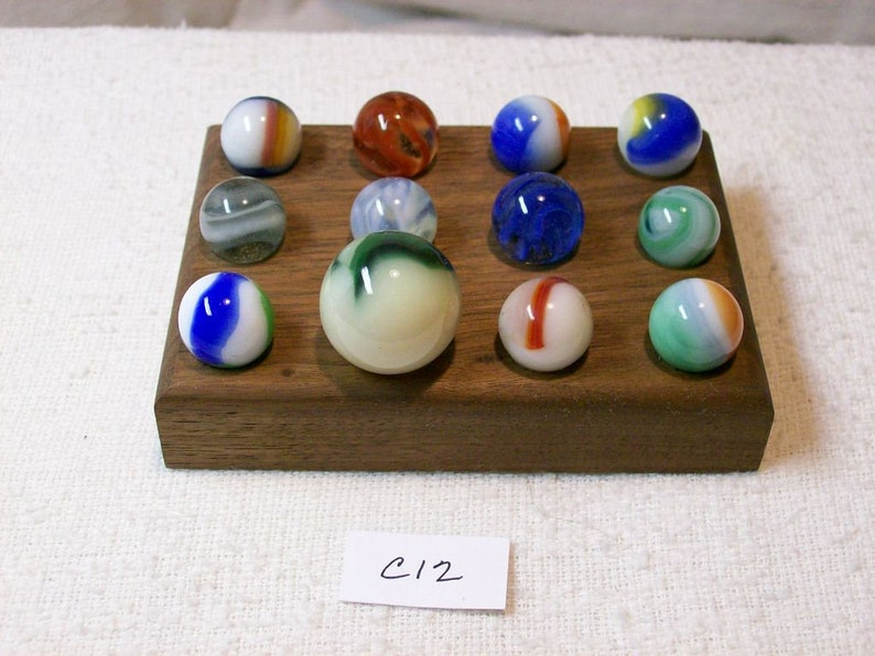 Marble Lot Of 12 Vintage With Walnut Display  C12