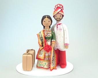 Bride & Groom Custom Made Indian Wedding Cake Topper
