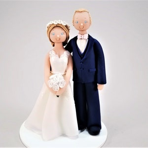 Bride Groom Traditional Wedding Cake Topper By Mudcards Etsy