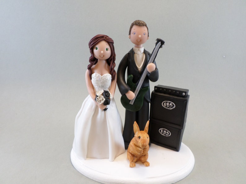 989348bcb467c Bride   Groom with a Guitar Amp and Rabbit Custom Made