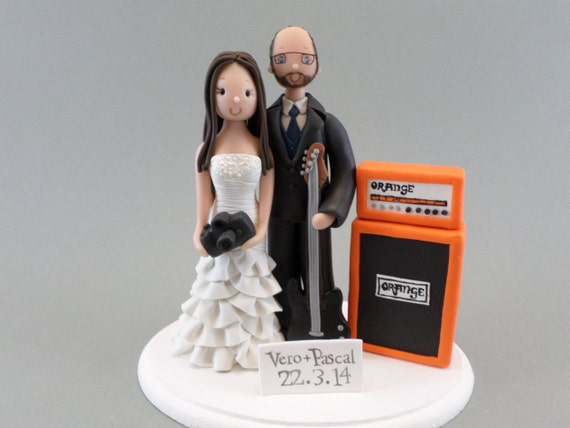 29db2fc6d0d52 Bride   Groom with a Guitar and Orange Amp Personalized