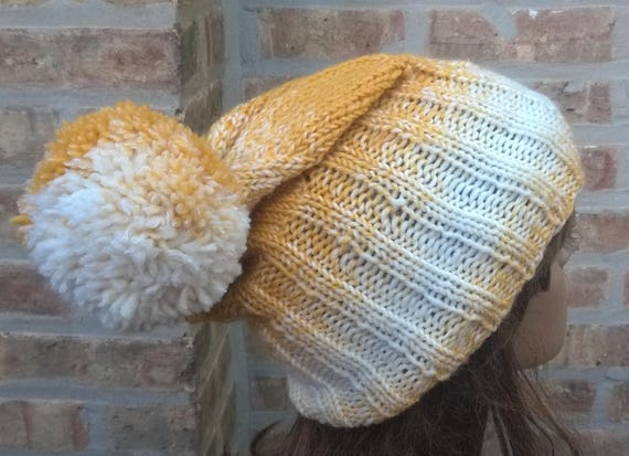 Hand Made Crochet Bobble Hat with Peak Cap Slouchy Beanie Winter Hat